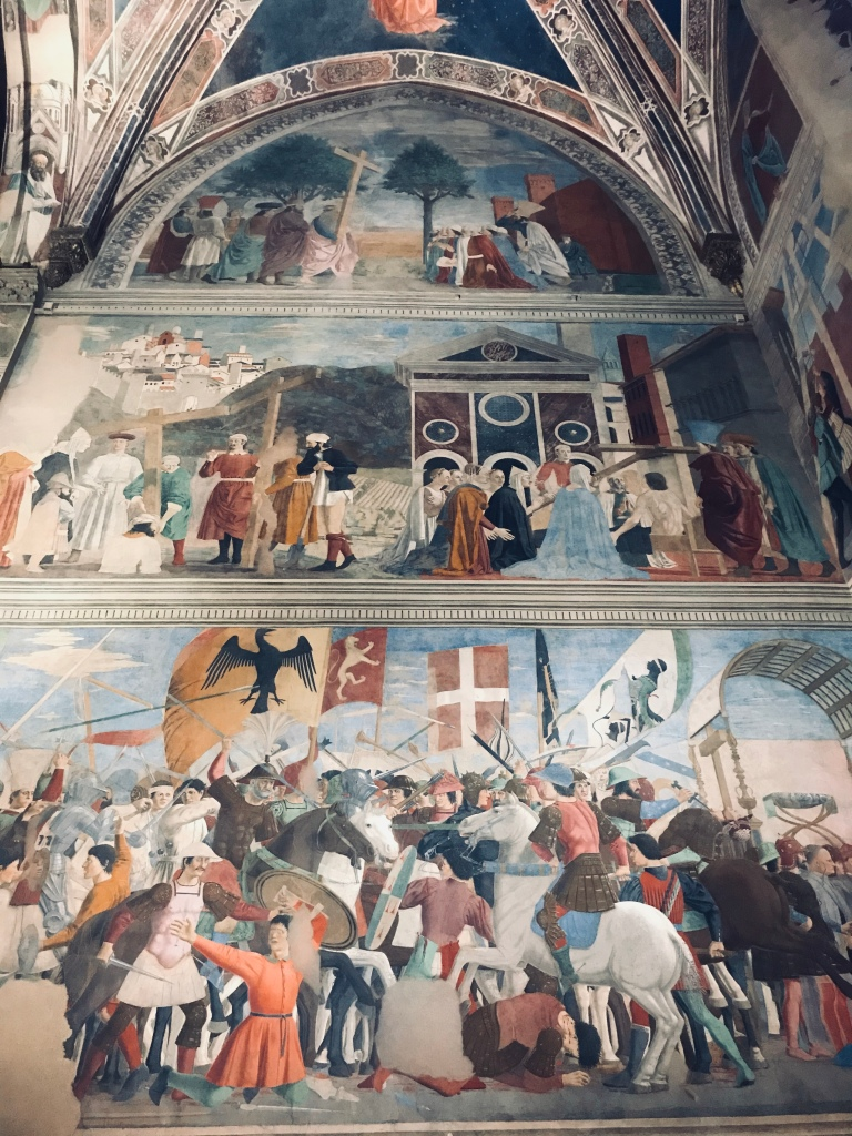 Alcuni affreschi del ciclo della Leggenda della Vera Croce di Piero della Francesca nella Basilica di San Francesco - Arezzo, Toscana, Italia