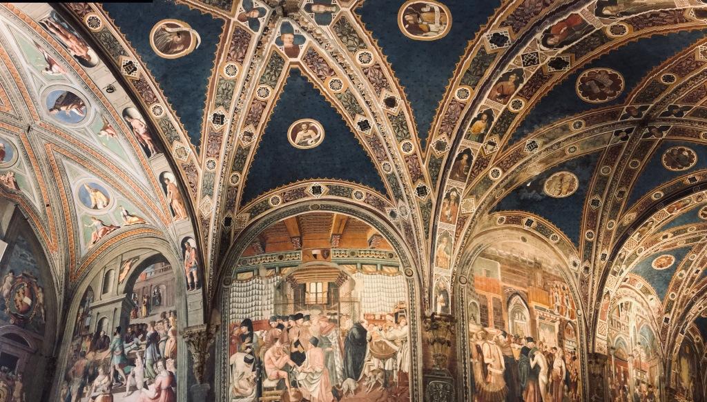 I soffitti affrescati del complesso museale di Santa Maria della Scala - Siena, Toscana, Italia