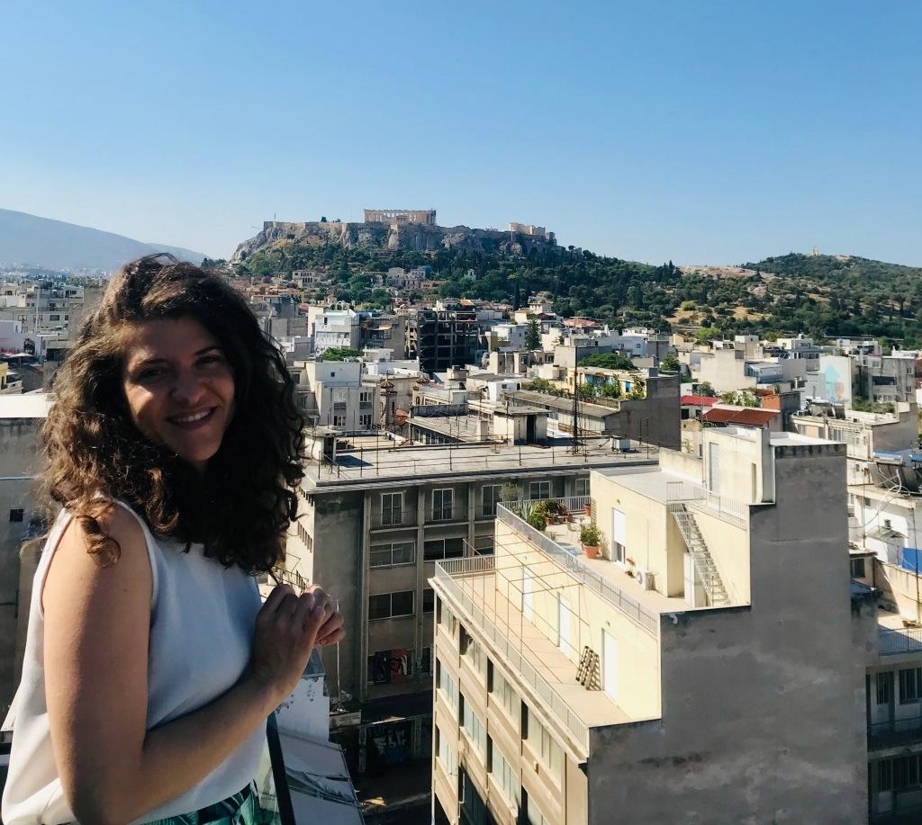 Vista sull'Acropoli, e sull'intera città, dalla terrazza rooftop dell'hotel Eupivdris - Atene, Grecia